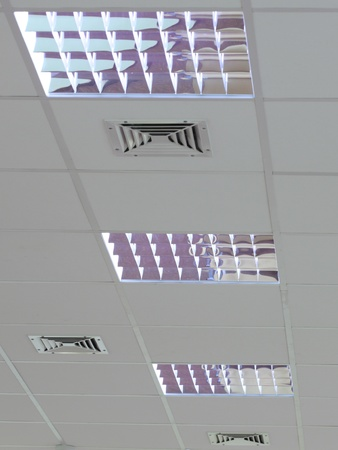 A fluorescent light set in the roof