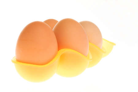 eggs in box isolated on a white background  photo