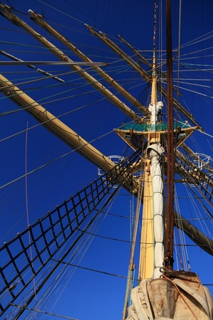 frigate: Old Ship tackles on the frigate Stock Photo