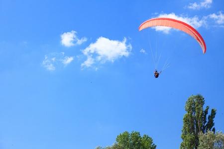 parachutist flight - Feeling free on the blue sky photo