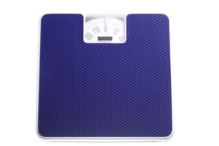 Bathroom weight scale isolated on white background Dieting concept photo
