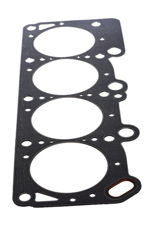 chromium plated: Cylinder head gasket isolated on white background Stock Photo
