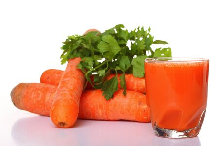 Juice and carrot isolated white kitchen prepare photo