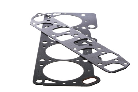 hinge joint: Cylinder head gasket isolated on white background Stock Photo