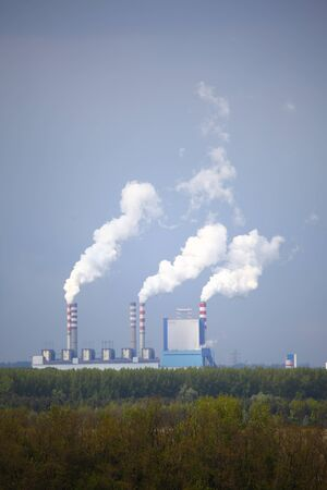 pollution water: environment power station in Poland