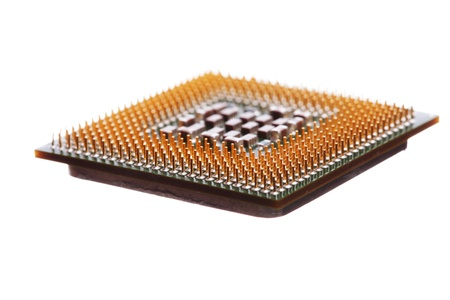 Computer engineering Microprocessor processor isolated on white background photo