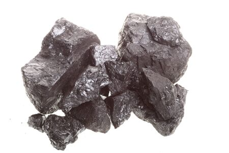 Piece coal isolated over white background photo