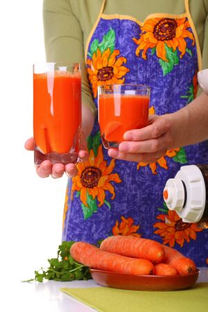 extractor: Woman Juice extractor and carrot isolated white kitchen prepare Stock Photo