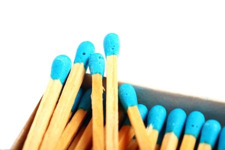 Close up shot of matches isolated on white background photo
