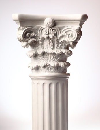 Single greek column on white background