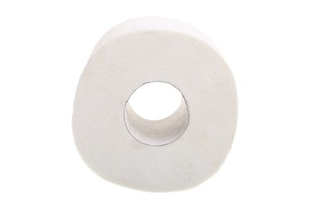 loo: toilet paper isolated on white background Stock Photo