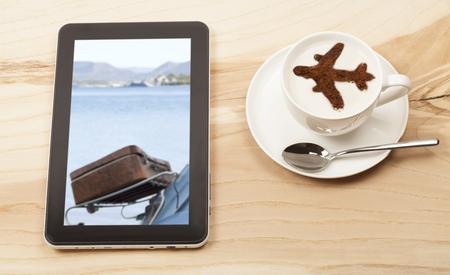 viaje icono de café con las tabletas