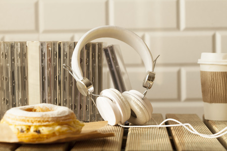 music CDs over table