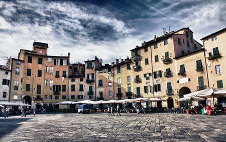 lucca: Lucca Amphitheatre Square Stock Photo