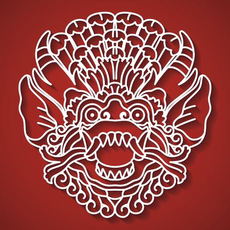 Mythological gods face. Balinese tradition. Barong illustration.