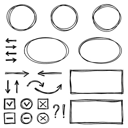 Set of hand drawn elements for selecting text. Ellipsoid and rectangle frames, arrows, check-boxes. Illustration