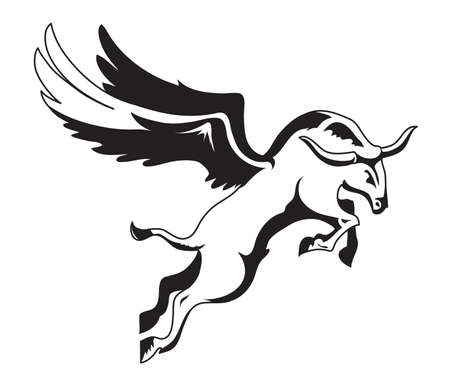Black and white vector winged bull is flying