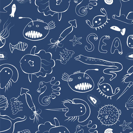 Cute sea creatures line style on the dark blue background seamless pattern