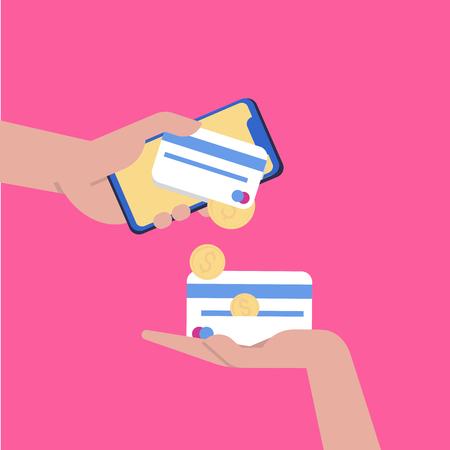 Banca online. Trasferire denaro. Esperienza utente per web e applicazioni con la donna moderna che utilizza dispositivi e gadget tecnologici Vettoriali