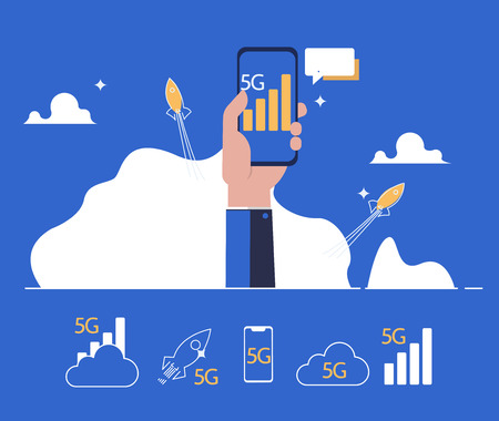 5G Internet connection with rocket. Mobile phone in hand. Network system in clouds Ilustrace