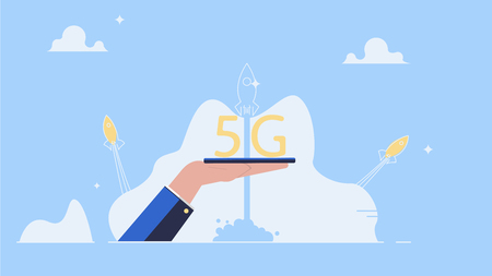 5G Internet connection with rocket. Mobile phone in hand. Network system in clouds  イラスト・ベクター素材