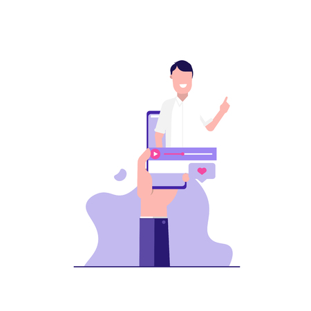Concept of webinar, online learning, web education, internet addiction and business training. Vector illustration in flat design with tiny people