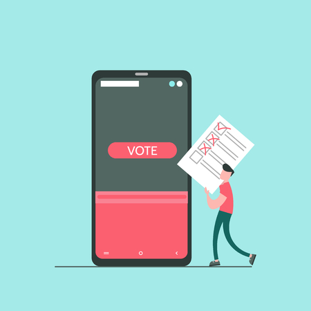 Concept of online voting, voting box with tiny people with decision. Political competition with modern system. White list newsletter on phone screen. Vector illustration with flat design