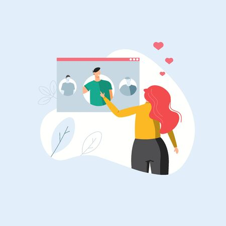 Internet digital scene, woman choosing man for relationship and love. Concept of online dating, virtual relations and dating app. Vector illustration in flat design for landing page, template, ui, web