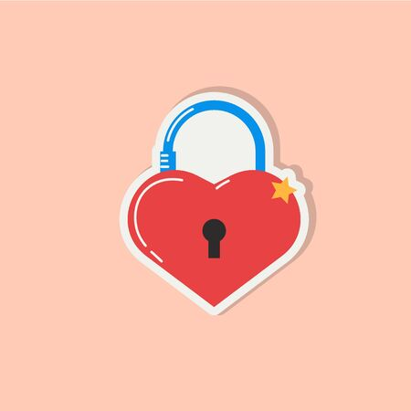 Love icon with heart lock. Romantic element of love lock. Valentines day sticker with symbols of romantic message and virginity. Vector illsutration in flat design