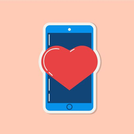 Love icon with heart on phone. Romantic element of love message. Valentines day sticker with symbols of romantic message. Vector illsutration in flat design