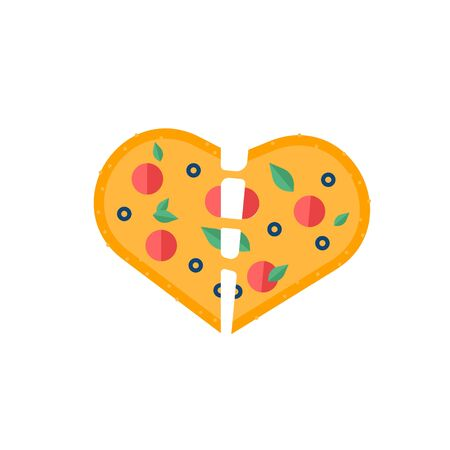 Love sticker with heart pizza. Love pizza icon. Romantic elements of valentines menu. Valentines day icon with symbols of true love and romantic dating. Vector illusutration in flat design