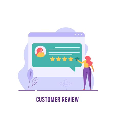 Successful woman gives star, customer review or feedback. Concept of positive review, customer experience, good or bad rating, bubble speeches. Vector illustration in flat design for UI, web banner, mobile app Illustration