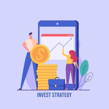 People saving money. Woman managing financial chart with mobile phone. Concept of ROI, return on investment, financial solutions. Vector illustration in flat design for UI, web banner, mobile app
