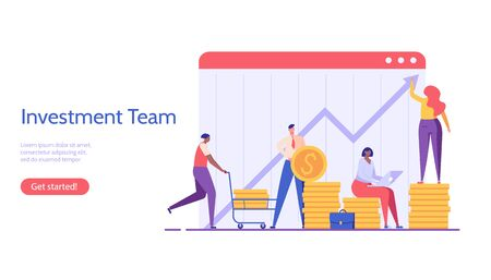 People invest money. Investment team managing financial chart. Concept of business team, return on investment, financial solutions. Vector illustration in flat design for UI, web banner, landing page