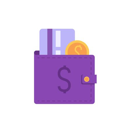 Element of wallet with coins and credit card. Concept of banking, e-wallet, deposit, cash back. Vector illustration in flat design for UI, web banner, mobile app