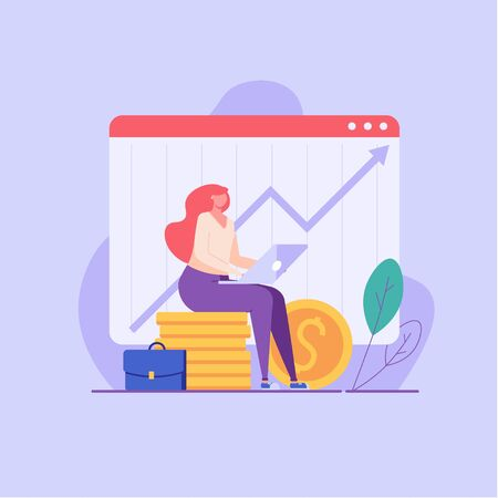 People invest money. Woman managing financial chart. Concept of ROI, return on investment, financial solutions. Vector illustration in flat design for UI, web banner, mobile app