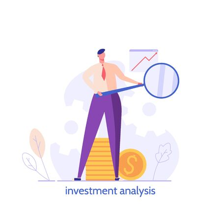 People invest money. Success businessman standing with business magnifier and money. Concept of bisiness idea, return on investment, leadership. Vector illustration in flat design for UI, web banner, mobile app