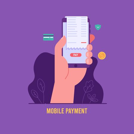 Online payment on mobile phone with credit card, check. Hand holds phone. Concept of secure payment, transfer money, pay online. Vector illustration for UI, web banner, mobile app Vektorgrafik
