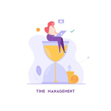 Woman controls time. Businesswoman manages tasks and works efficiently. Concept of time management, productivity, multitasking. Vector illustration in flat design for UI, web banner, landing page