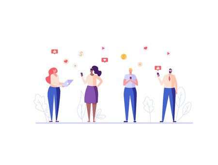 People communicate on social networks with mobile phone. Social network and social media marketing. Concept of smm, mobile marketing, like and repost. Vector illustration for UI, mobile app