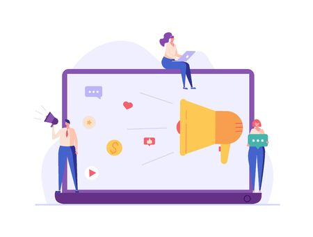 People are engaged in PR, targeting, marketing. Successful work on the Internet and office. The concept of journalism, advertising, online advertising in flat design