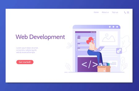 People developing mobile or web product. Web development. Concept of app development, UI interface, designing and programming technologies. Vector illustration for UI, mobile app Ilustracja