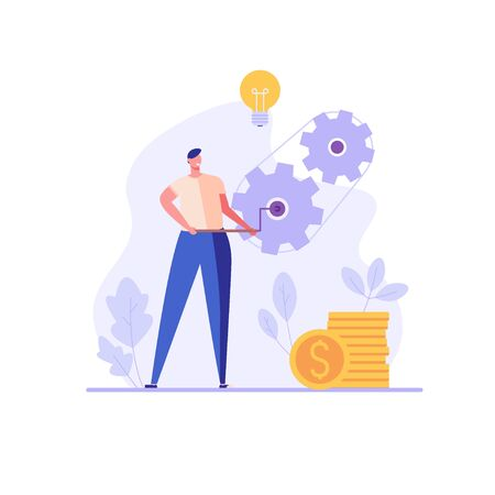 Businessman or employee twists gears of business. Business hard work. Concept of career success, office work, beginner. Vector illustration in flat design for UI, web banner, mobile app