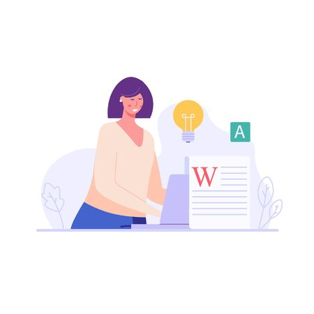 Successful woman with a laptop writing or editing a text. Concept of copywriting, journalism, writing, copyright idea. Vector illustration in flat design.