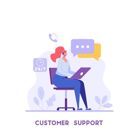 Consultant with headsets helps customers. Customer support. Concept of hotline worker, online assistant, pr, customer attraction. Vector illustration in flat for UI, web banner, mobile app