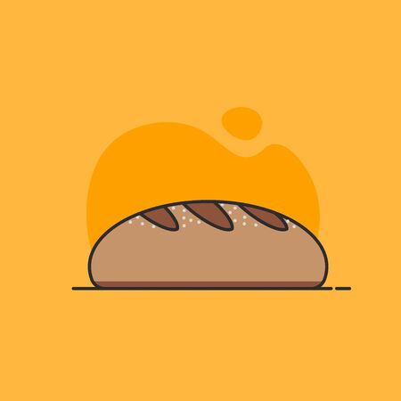 Loaf of bread in line design. Food element. Bread icon. Concept of bakery, confectionery, store, home kitchen. Vector illustration in flat design