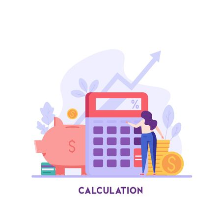 Woman counts on a calculator. Financial administration. Concept of financial management, optimization, duty, financial accounting. Vector illustration in flat design for UI, banner, mobile app