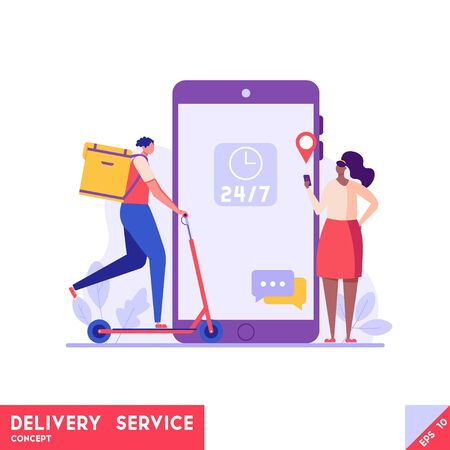 Courier on scooter delivering food to customer. Mobile delivery service. Concept of food delivery, logistics transport, order tracking. Vector illustration for UI, web banner, mobile app