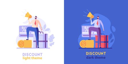 Sales manager attracts clients with gift. Discount program with light and dark background. Concept of shopping, loyalty program, payment credit card. Vector illustration for UI, web banner, mobile app