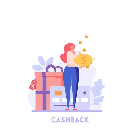 Happy customer holds piggy bank with coins. Cashback program with gifts. Concept of shopping, loyalty program, payment credit card. Vector illustration for UI, web banner, mobile app